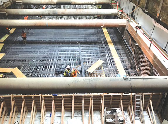 Subway station construction continues at many locations along the Purple Line Extension project route. (photo courtesy of Metro)