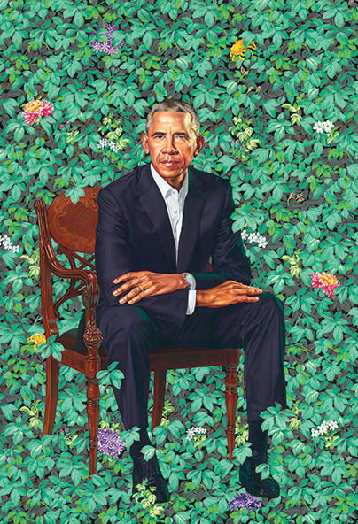 """Barack Obama"" by Kehinde Wiley and ""Michelle LaVaughn Robinson Obama"" by Amy Sherald will be exhibited at LACMA next year as part of the portraits' tour of five U.S. cities. (photo © 2018 Kehinde Wiley/courtesy of the National Portrait Gallery, Smithsonian Institution)"