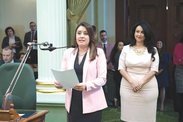 Assemblywoman Luz Rivas, left, recently honored Los Angeles City Council President Nury Martinez in Sacramento. (photo courtesy of Assemblywoman Luz Rivas's office)