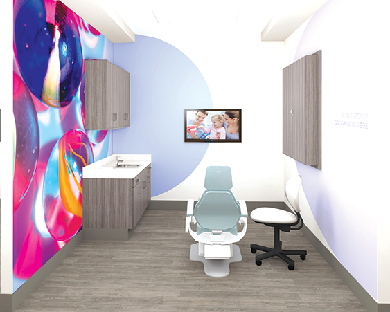 Dental exam rooms and other patient spaces at the new Saban Community Clinic health center will have themes to make children feel more comfortable. (rendering courtesy of the Saban Community Clinic)