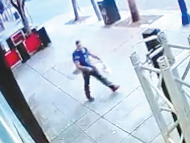 A security camera captured an image of a suspect who allegedly scrawled graffiti on the front of a business in West Hollywood. (photo courtesy of the LASD)