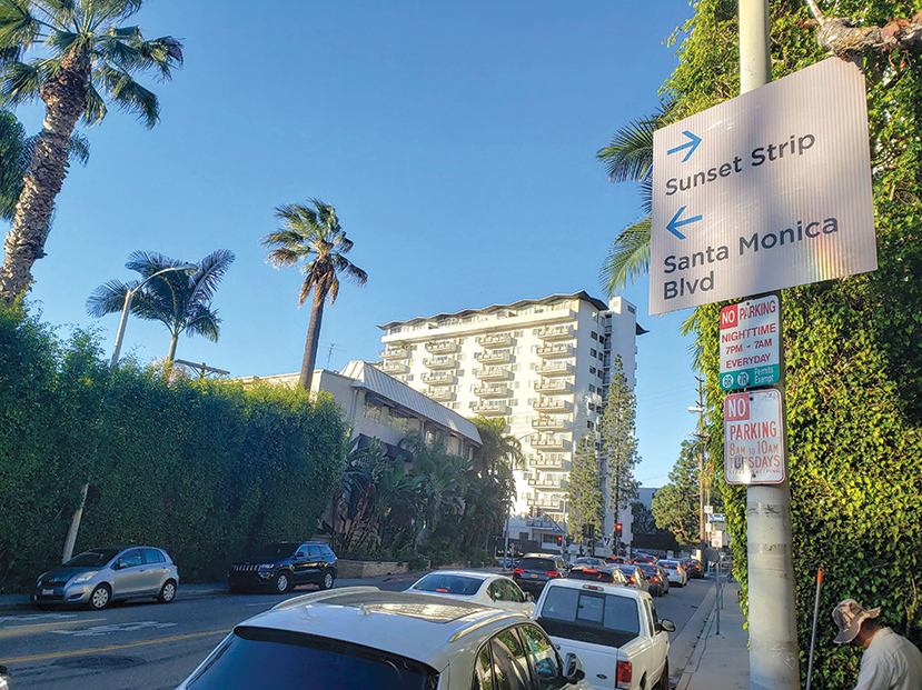 The West Hollywood City Council wants any potential wayfinding signs for pedestrians and bicyclists to resemble the city's existing signs. (photo by Cameron Kiszla)