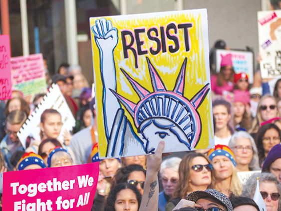 Demonstrators at the Women's March L.A. last January took a stand on equality and human rights. (photo by Luke Harold)