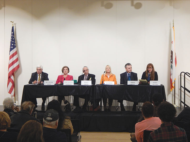 Dr. Julian Gold, Lori Greene Gordon, Rabbi Sidney Green, Lili Bosse, Robin Rowe and Aimee Zeltzer participated in the Beverly Hills Active Adult Club's City Council Candidates Forum. (photo by Cameron Kiszla)