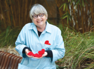 Cedars-Sinai volunteer delivers crocheted hearts