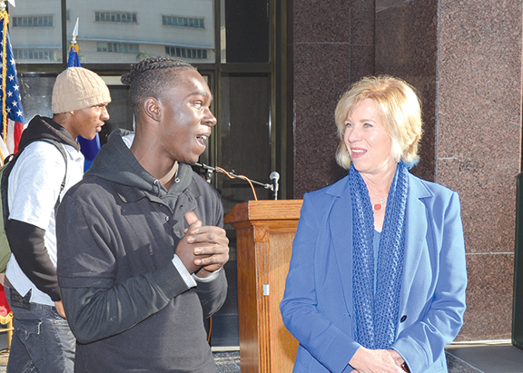 Los Angeles County Supervisor Janice Hahn, 4th District, discussed potential improvements to the county probation system with 18-year-old Blacc Johnson during a press conference about the new Youth Commission. (photo courtesy of Supervisor Janice Hahn's office)