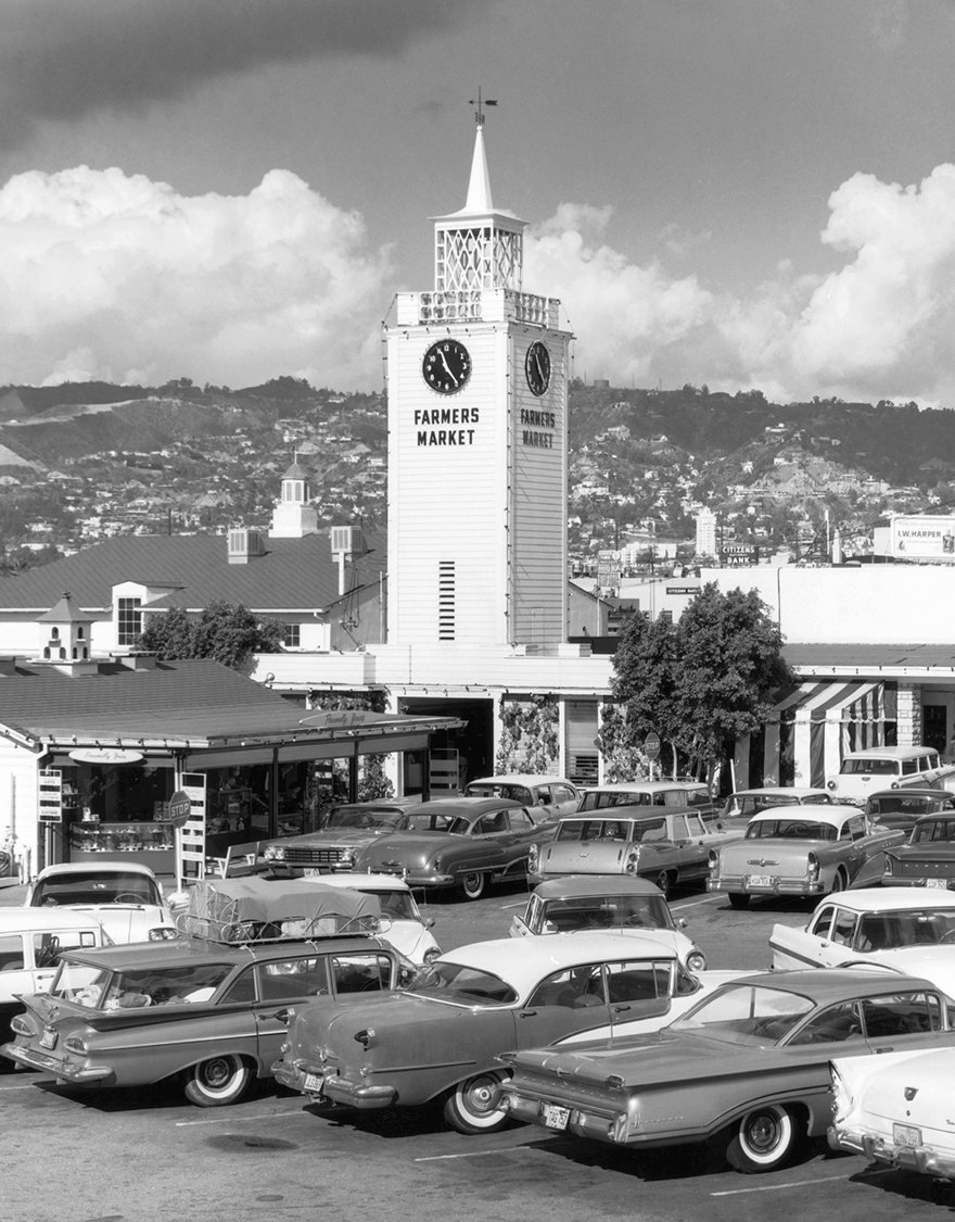 A view of the clock tower in the Farmers Market, circa 1960s. (photo courtesy of Farmers Market archives)
