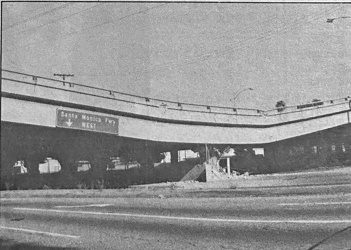 A portion of the Santa Monica Fwy. collapsed in the 1994 earthquake. (Park Labrea News/Beverly Press archives)