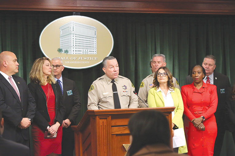 Los Angeles County Sheriff Alex Villanueva was joined by partners on the Los Angeles Regional Human Trafficking Task Force to outline details of the annual Operation Reclaim and Rebuild operation. (photo courtesy of LASD)