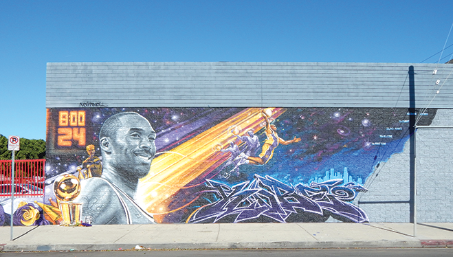 The Custom Auto Craft building located at 100 N. La Brea Ave. is now adorned with a large mural in honor of Kobe Bryant. (photo by Cameron Kiszla)