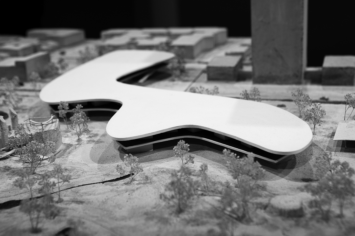 An architectural model of the new LACMA campus depicts the building spanning Wilshire Boulevard. (photo by Andy Kitchen)