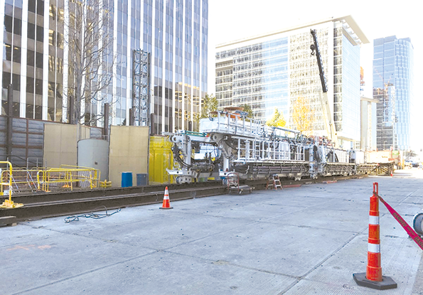 Tunnel boring machines are being assembled in the Century City construction staging areas in anticipation of subway tunneling for phase 2 of the project. (photo courtesy of Metro)