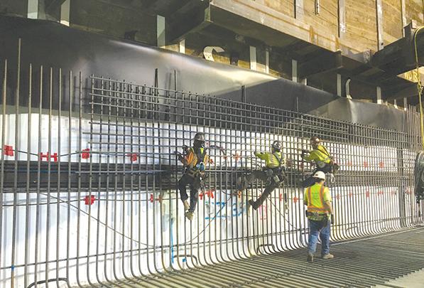 Crews are installing rebar inside the future subway station at Wilshire Boulevard and La Brea Avenue. (photo courtesy of Metro)
