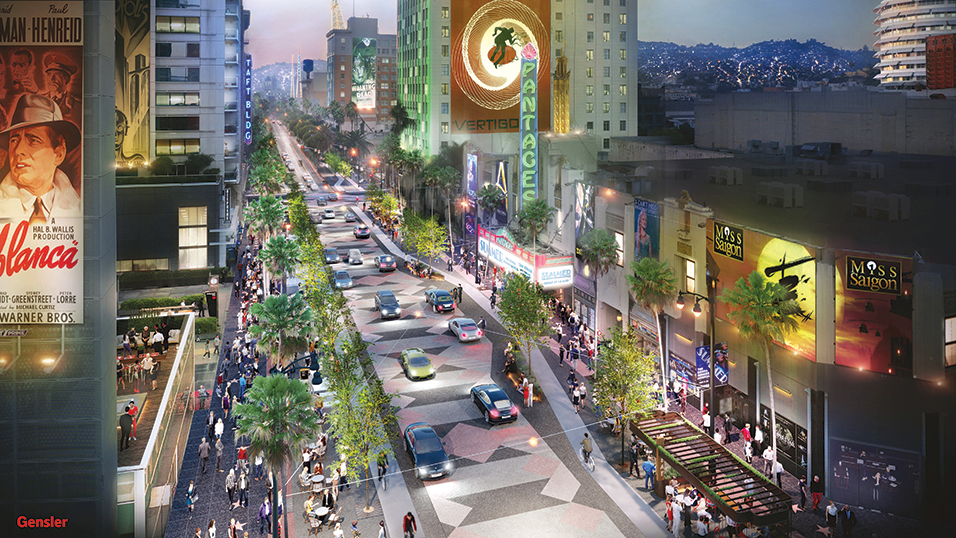 City Councilman Mitch O'Farrell's plan to redesign Hollywood Boulevard and the Walk of Fame would remove two traffic lanes in exchange for an expanded sidewalk. (rendering courtesy of the Council District 13 office)