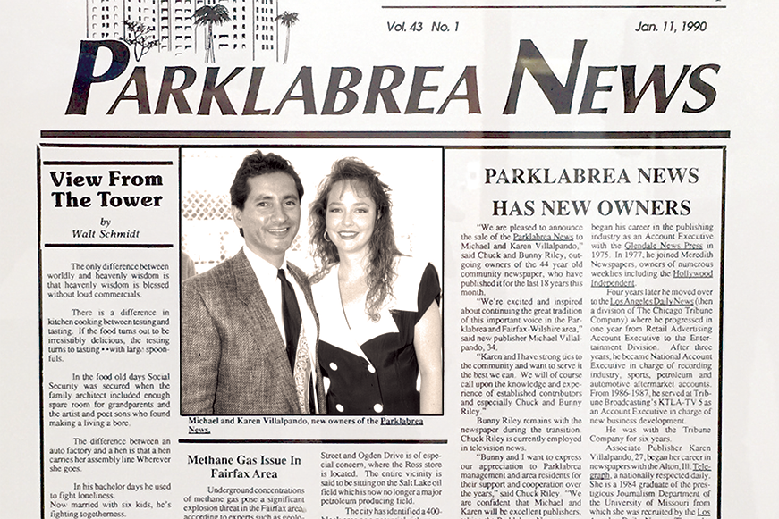 News that the Park Labrea News has new owners made the headlines on Jan. 11, 1990. Thirty years later, the publishers reflect on their journey of a lifetime. (photo from the Park Labrea News archives)