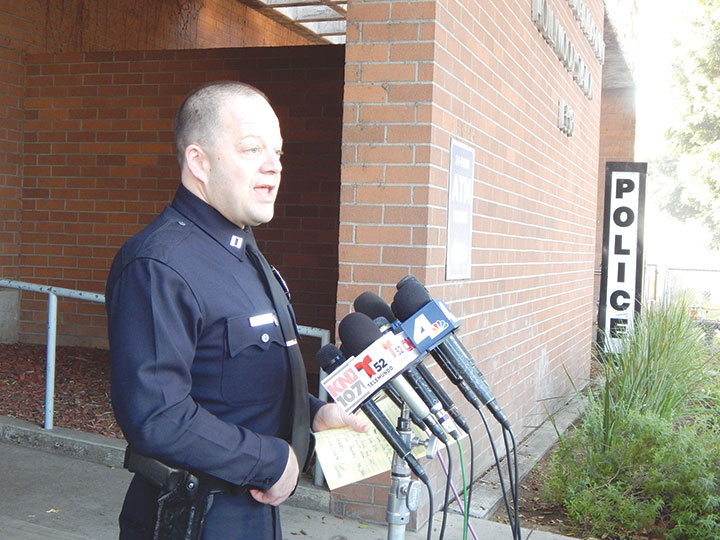 Captain Steven Lurie of the LAPD's Hollywood Division spoke to the media about the homicide on Feb. 19. (photo by Edwin Folven)