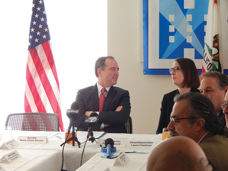 U.S. Rep. Adam Schiff and Assemblywoman Laura Friedman discussed affordable housing at a roundtable on Feb. 21. (photo by Cameron Kiszla)