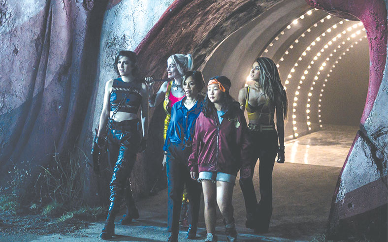 """""""Harley and the Birds of Prey"""" unite in the new film centered on the anti-heroine Harley Quinn. (photo courtesy of Warner Bros. Pictures"""")"""