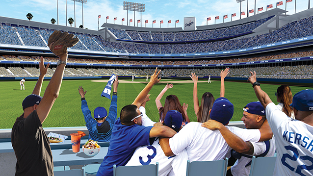 "Updated renderings of Dodger Stadium show plans for two rows of ""home-run seats"" to be added to the front of the outfield pavilions. (rendering courtesy of the Los Angeles Dodgers)"