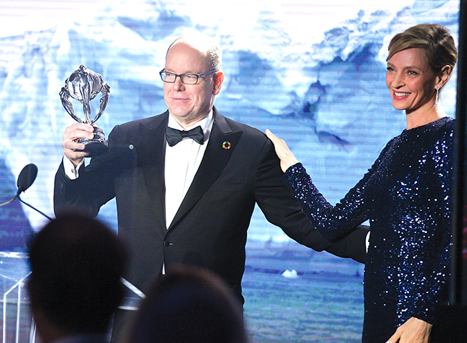 Actress Uma Thurman presented a Lifetime Achievement Award to Prince Albert II of Monaco at a star-studded ceremony on Feb. 6. (photo by George Pimentel)