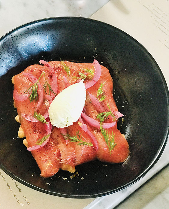The corn waffle is topped with smoked salmon and cream cheese. (photo by Jill Weinlein)