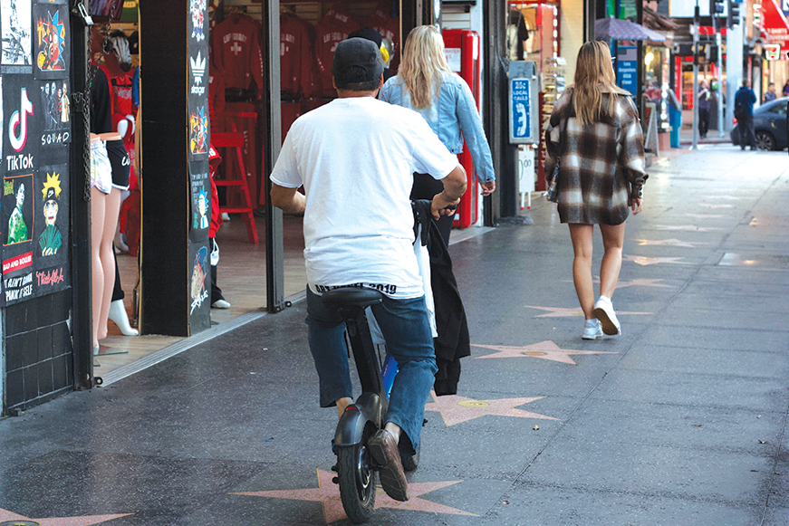 Los Angeles City Councilman Mitch O'Farrell wants to restrict e-scooters and similar devices from the Hollywood Walk of Fame. (photo by Jose Herrera)