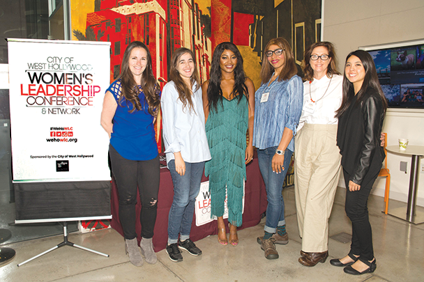 Sarah Moshman, left, Sarah Adina Smith, Keturah King, Kase Pena, Mary-Lyn Chambers and Maikiko James were panelists in the women in film and media panel at the 2019 West Hollywood Women's Leadership Conference. (photo by Kristina Sado/courtesy of the city of West Hollywood)