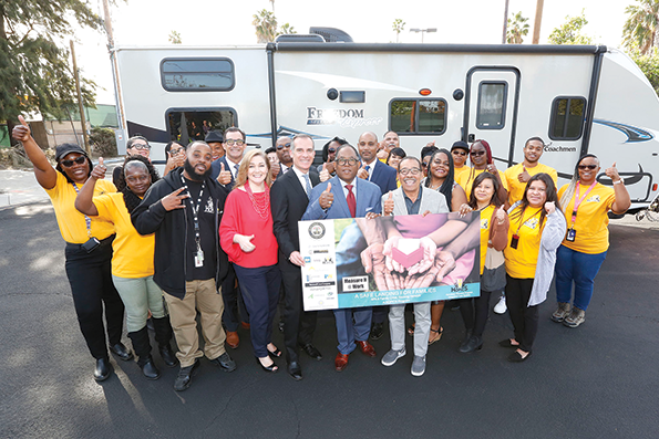 Los Angeles Mayor Eric Garcetti and city and council officials were among those who celebrated the trailers' arrival. (photo by Aurelia Ventura/courtesy of the Board of Supervisors)