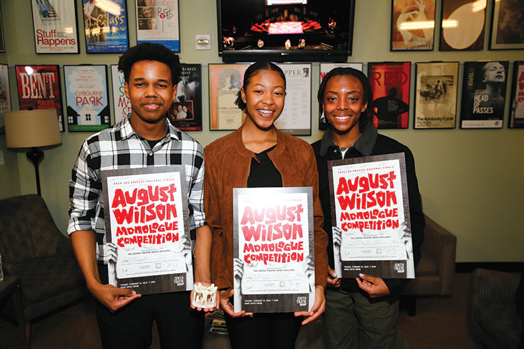 Kyle Branch, Tyla Uzo and Fletcher Jones are the winners of the 2020 August Wilson Monologue Competition Los Angeles Regional Finals hosted by Center Theatre Group at the Mark Taper Forum on Feb. 25. (photo by Ryan Miller/Capture Imaging)