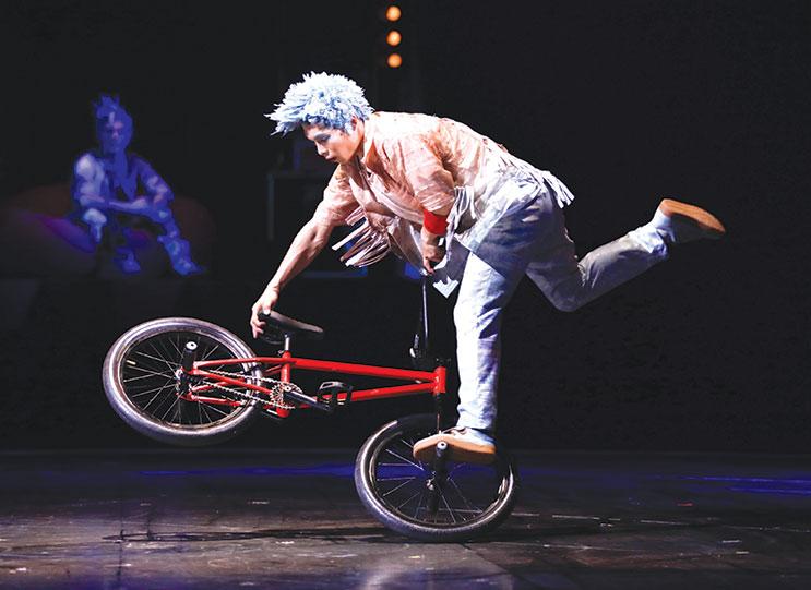 "Cirque du Soleil's ""VOLTA"" displays the energy of street sports and acrobatics, including BMX. (photo by Matt Beard)"