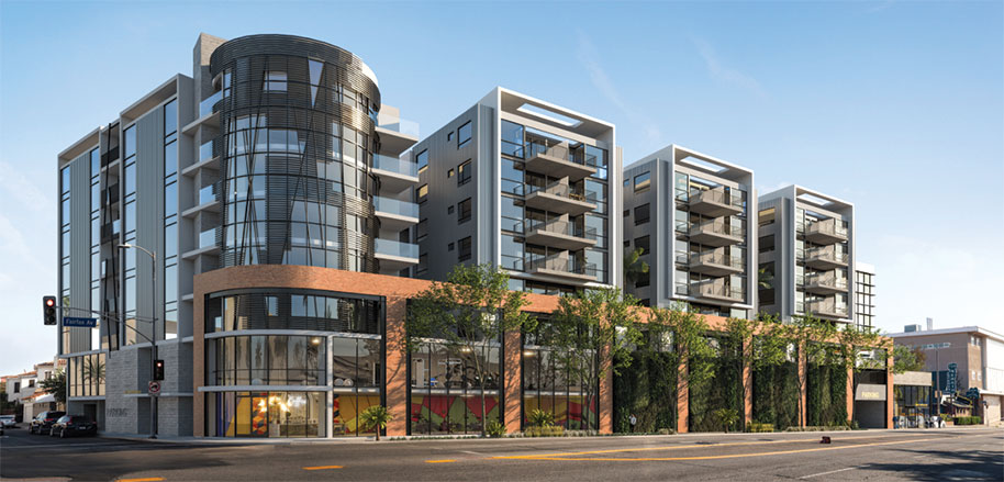 An eight-story building containing more than 200 apartments could soon be coming to Fairfax Avenue south of Wilshire Boulevard. (rendering © Reed Architectural Group, Inc./courtesy of Los Angeles City Planning)