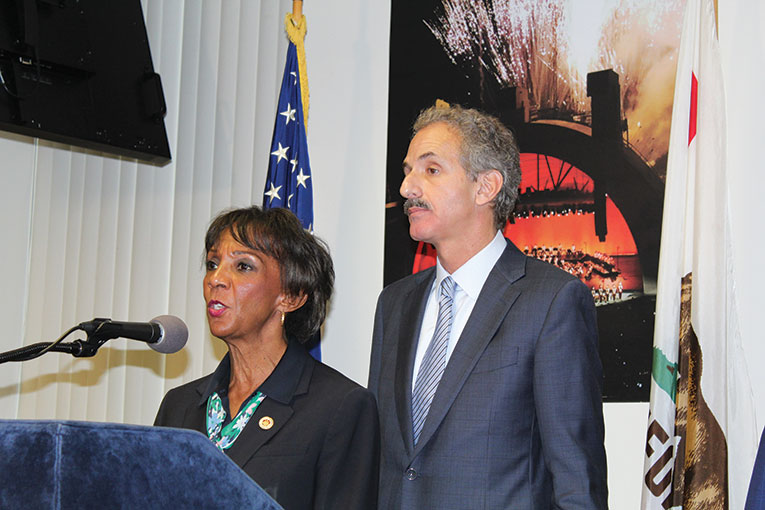 Los Angeles County District Attorney Jackie Lacey and Los Angeles City Attorney Mike Feuer came together to inform the public and warn potential perpetrators of scams and price gouging about legal consequences. (photo courtesy of the Los Angeles City Attorney's Office)