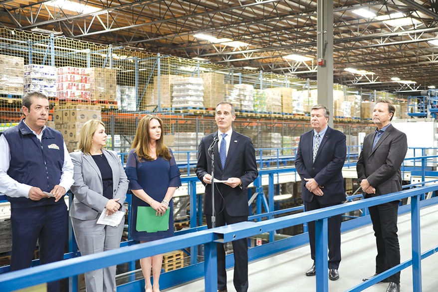 Los Angeles Mayor Eric Garcetti joined representatives from grocery store chains and suppliers to assure that food supplies are stable. (photo courtesy of Mayor Eric Garcetti's office)