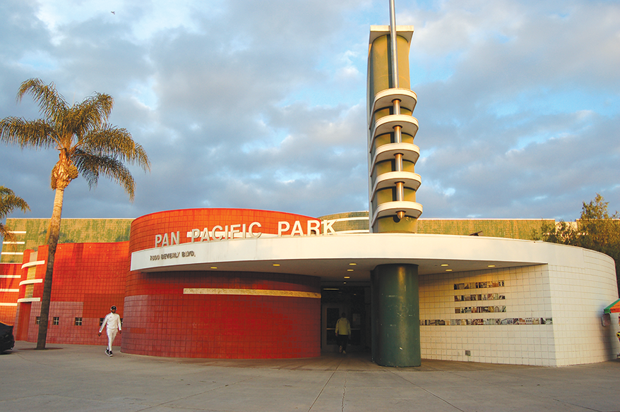 Pan Pacific Park was opened as an emergency shelter for homeless individuals to help mitigate the spread of coronavirus. (photo by Edwin Folven)