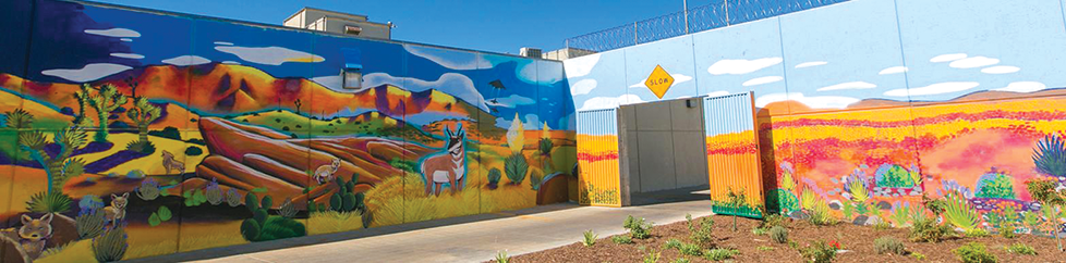 A mural adorns the Challenger Memorial Youth Facility in Lancaster. (photo courtesy of Los Angeles County Arts & Culture)