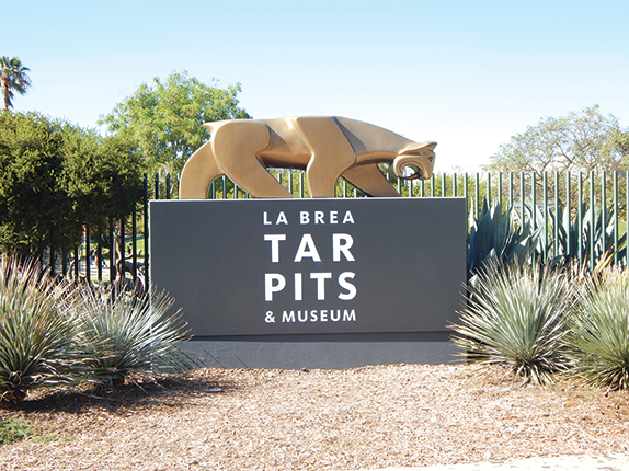 The La Brea Tar Pits Museum and other Los Angeles County museums are closed to the public. (photo by Cameron Kiszla)