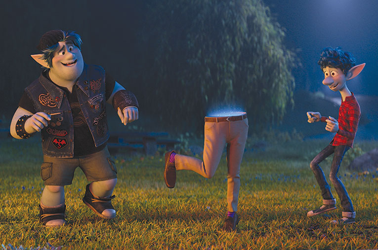 "Brothers Ian (Tom Holland) and Barley (Chris Pratt) use a magic staff and spell to resurrect their father in ""Onward,"" but only succeed in bringing back his lower half. (photo courtesy of Pixar)"