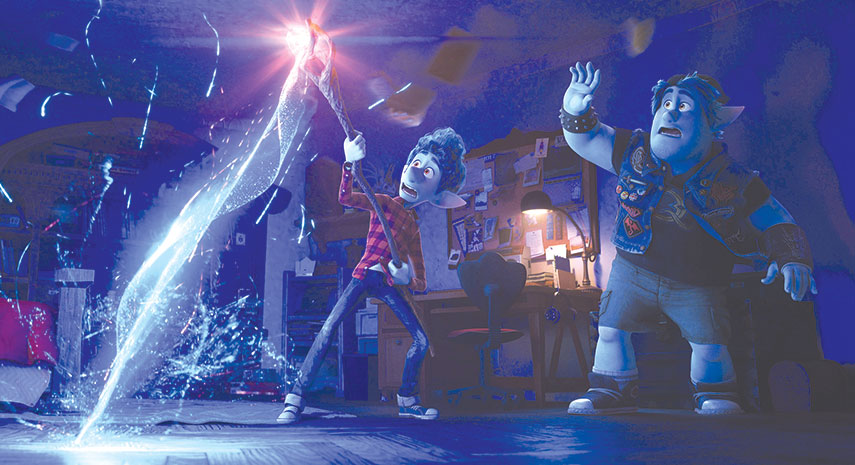 "Ian (Tom Holland) and Barley (Chris Pratt) try their powers of magic in ""Onward."" (photo courtesy of Pixar)"