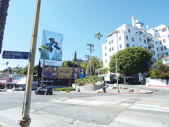 The city of West Hollywood is proposing one of three gateways on Sunset Boulevard and Marmont Lane. (photo by Cameron Kiszla)