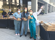 Football star pitches in to help Cedars-Sinai health care staff