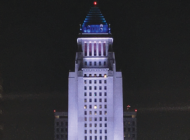 City Hall illuminated in blue  and white in tribute to Greece